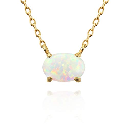 """(MUSTHAVE 14K Rose Gold Plated Opal Necklace, 14K Gold Plated & Anchor Chain, White/Green/Pink Opal Necklace, Size 16""""+2"""" Extender (Yellow Gold))"""