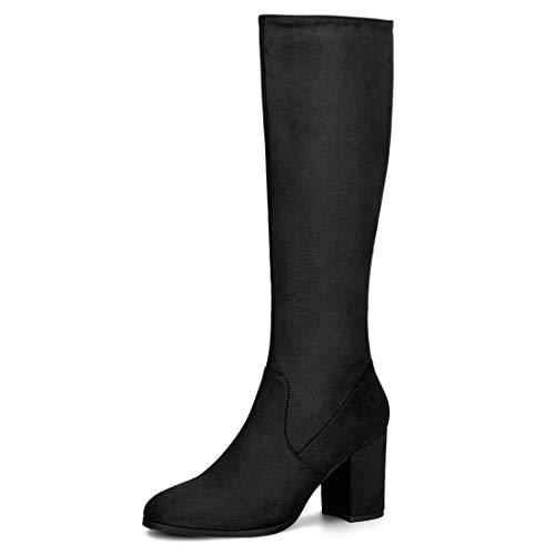 Image of Allegra K Women's Side Zipper Chunky Heel Knee High Boots