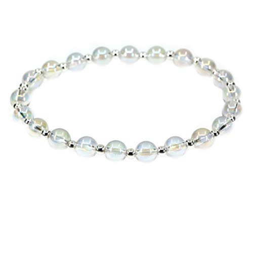 AMANDASTONES Natural Aqua Aura Clear Quartz Gemstone 6mm Round Beads S925 Silver Stretch Bracelet 7