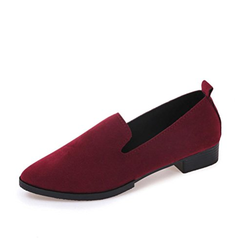 Women Flat Pointed Shoes,Byste Loafer Ladies Casual Scrub Shoes Solid Slip Sandals (36, Red)