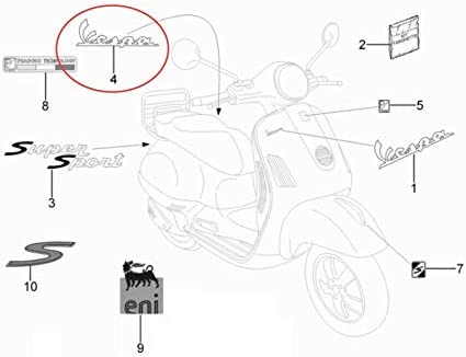 Piaggio VespaVespa Badge Emblem Side panel metal gray for S 50-150 GTS Super Sport 125 250 300 Side Cowl 6 inch 50 672061