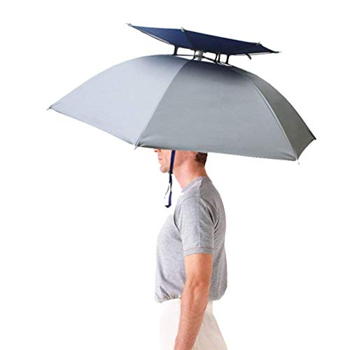 Luwint Double Layer Umbrella Hat Headwear 36'' Diameter Oversized Folding Adjustable Hands Free UV Wind Rain Protection - Fishing Gardening in Outdoor Recreation (Silver) -