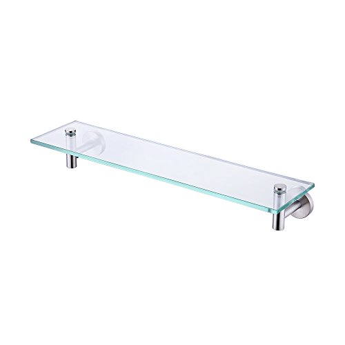 KES 20-Inch Glass Shelf Bathroom Storage Organizer Shelf with 8 MM-Thick Tempered Glass and Brushed Nickel Rustproof Metal Bracket Wall Mount Rectangular, A2021-2 (Brushed Shelf)