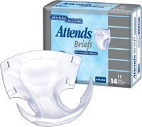 Attends Adult Briefs, Diaper Style, Extended Wear - Size Large, Case of 28 Briefs (222-1010)