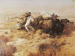 Indian Buffalo Hunt, Art Poster by Charles M. Russell