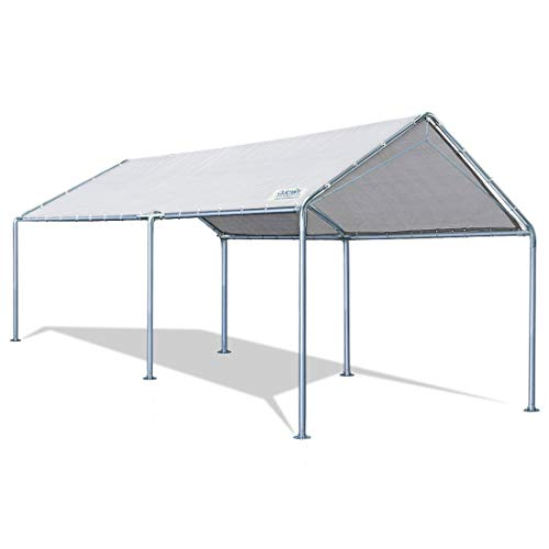 Quictent 10X20'ft Upgraded Heavy Duty Carport Car Canopy Party Tent with 3 Reinforced Steel Cables-Grey