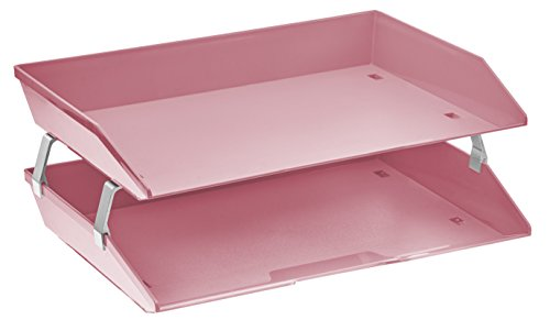 Acrimet Facility 2 Tier Letter Tray Plastic Desktop File Organizer (Solid Pink Color)