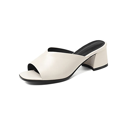 Genuine Leather Slip On Sandals Square Heel Simple Summer Solid Beige Black Ladies Shoes,Beige,10