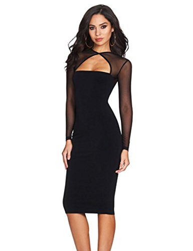 UZZDSS-Women-Midi-Length-Cut-Out-Keyhole-Party-Bodycon-Bandage-Dress-with-Transparent-Long-Sleeves