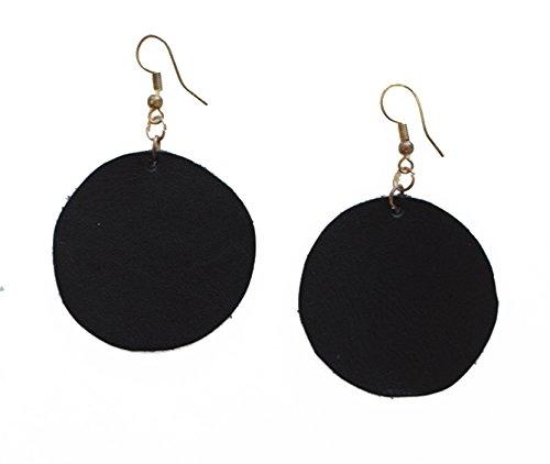 Guatemalan Shoulder Bag - Purse & Clutch Hand Cut Guatemalan Circle Leather Earrings by, Black