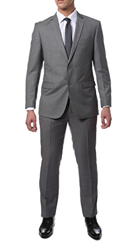 36S Zonettie Mens ZNL101 Light Grey 2pc Suit