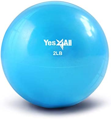 Yes4All Soft Weighted Toning Ball Medicine Ball Exercise Pilates Ring – Multi Colors Weights Available