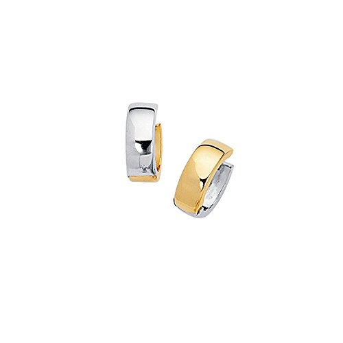 Aleksa Ladies 14K Two-Tone White & Yellow Gold Aleksa Ladies Small Huggie Earrings ()