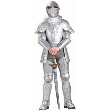 Forum Knight In Shining Armor Complete Costume, Silver, One (Suit Of Armor Helmet)