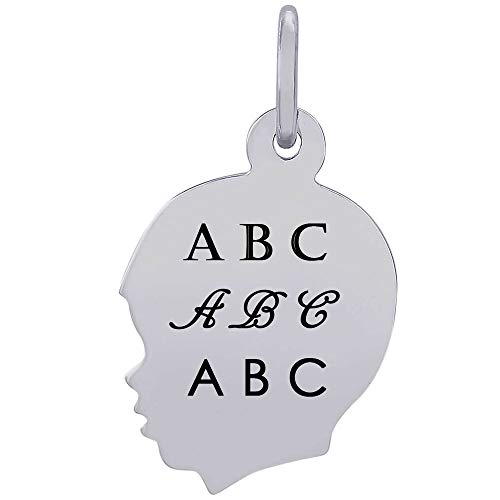 Rembrandt Charms Engravable Sterling SilverFlat Young Boy's Head Charm (13.31 x 14.05 mm)