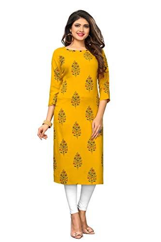 Indian/Pakistani Fashion Salwar Kameez tunic kurti kurta for Women Shalwar Kameez Suit Casual Wear (Yellow, XXL-44)