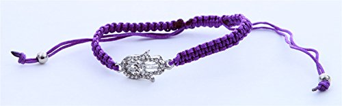 Braided Hamsa Bracelet - Silver tone Hamsa Braided Purple string lucky bracelet Bangle Wrist Jewelry