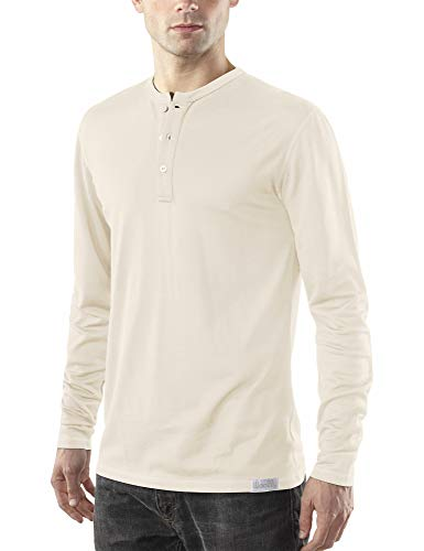 Mens Regular Merino Wool - Woolly Clothing Men's Merino Wool Long Sleeve Henley - Everyday Weight - Wicking Breathable Anti-Odor L LIN