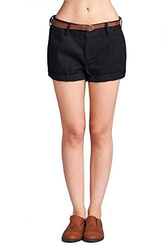 Khanomak Women's Cotton Spandex Twill with Belt Cuffed Hem Pants Shorts (Medium, Black)