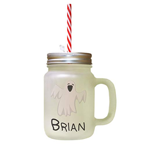 (Custom Text Funny Ghost Decoration Halloween Frosted Glass Mason Jar With)