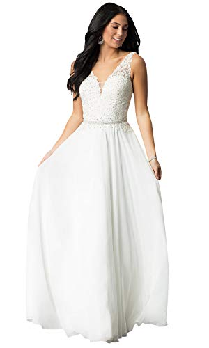 Now and Forever Women's V Neck Lace Chiffon Beach Wedding Party Dress Long Formal Bridal Gown (White,2)