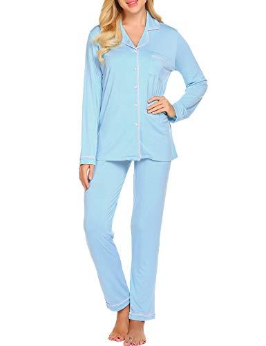 Ekouaer Pajama Set Womens Soft Sleepwear Long Sleeve Pjs Top Long Lounge Pants,Clear Blue,Small by Ekouaer