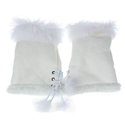 URIBAKE Women's Girls' Hand Warmer Thermal Faux Rabbit Fur Fingerless Wrist Warmer Gloves ()