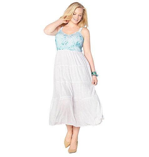 AVENUE Women's Crochet Tiered Maxi Dress, 18/20 White
