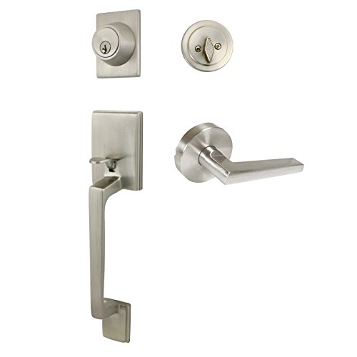 Designers Impressions Churchill Satin Nickel Handleset with Madison Interior Lever (We Key All Lock Orders Alike for Free)