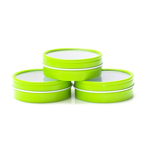 Mimi Pack 8 oz Shallow Round Clear Window Top Metal Tins For Salves, Favors, Spices, Balms, Candles, Gifts 24 Pack (Lime Green) ()