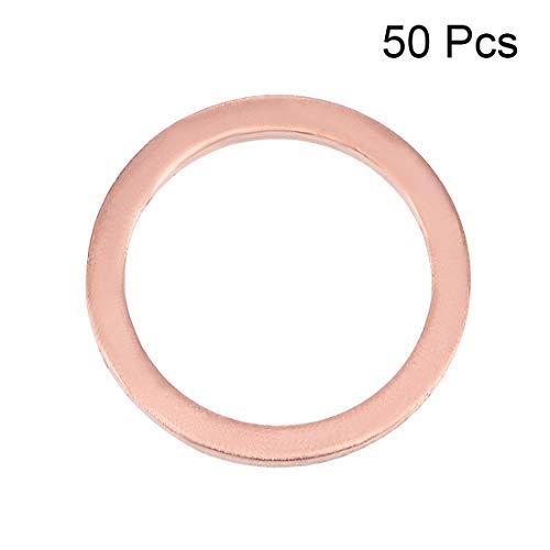 50Pcs Flat Copper Washer 14.3 mm x 18 mm x 1.5 mm for Screw Bolt
