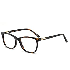 OCCI CHIARI Shining Asero Acetate Color Demi Eyeglasses Frame With Clear Lenses(Tortoise,50)
