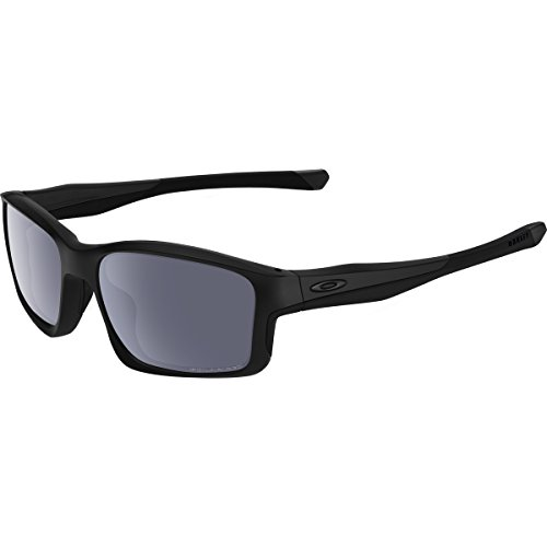 Oakley Men's Chainlink OO9247-15 Polarized Rectangular Sunglasses, Matte Black, 57 mm