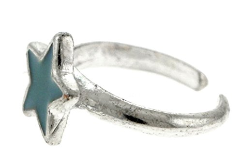 Silver Silver Ring Toe Tone (Silver-Tone Toe Ring With Powder Blue Colored Star Design TR47C-Star-BLU)