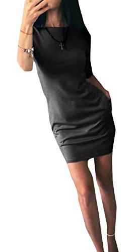 Jaycargogo Slim Fit Manches Courtes Été T-shirt Femmes Mini Robe Avec Des Poches Noires