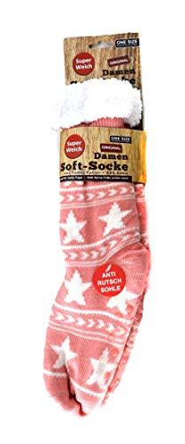 Unbekannt (3037R) Damen Soft-Socken mit Sternen, Kuschelsocken mit Teddy-Futter, super weiche Bettsocke, Hüttensocke, Wintersocke, ABS-Sohle, Sternen-Motiv, rosa