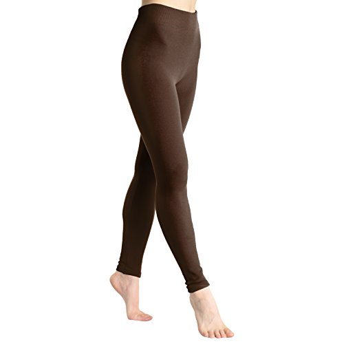 Angelina Fleece Lined Leggings,dark chocolate One size fits up to size 12/14