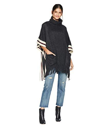 (Steve Madden Women's Fuzzy Stripe Poncho, charcoal ONE SIZE)