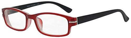 Classic Rectangular Negative Strength Prescription Eyewear Glasses Power -1.00 thru -2.25 (Red   Black, - Eyeglass Rectangular Frames