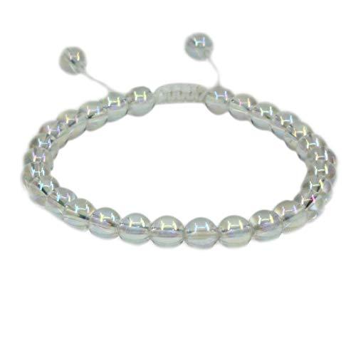 Natural Aqua Aura Clear Quartz Gemstone 6mm Round Beads Adjustable Bracelet 7