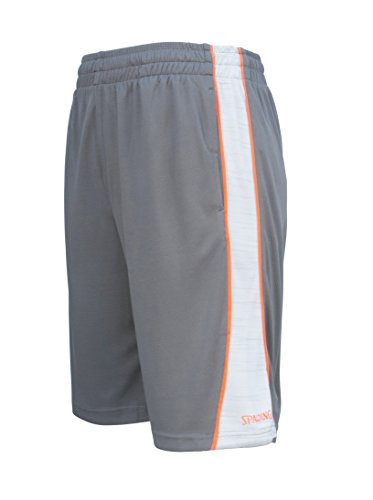 Spalding Mens Active Dimple Mesh Basketball Gym Athletic Workout Shorts With Contrast Epic Knit Side Piping Charcoal Gray Medium