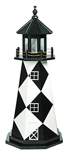DutchCrafters Decorative Lighthouse - Wood, Cape Lookout Style (4', Black/White)