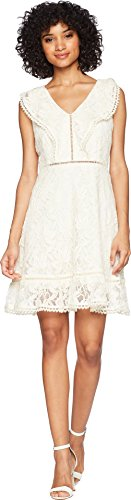 BB Dakota Rease Ruffle Detail Fit and Flare Dress Antique Ivory 6
