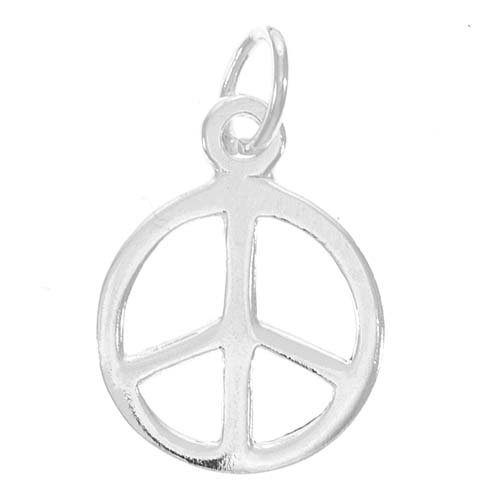 (CharmSleekPeaceSign10mm,SterlingSilver)