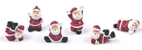Tumbling Santa Christmas cake decorations set of 6, fun and festive Santa decorations