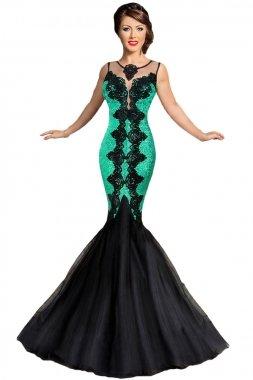 Vestido verde con encaje negro