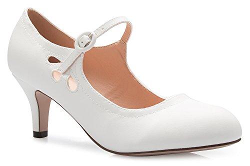 OLIVIA K Women's Kitten Low Heels Round Toe Mary Jane Pumps - Adorable Vintage Retro Shoes- Unique Side Cut Out Design ()