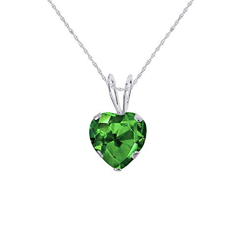 Genuine 14K Solid White Gold 6x6mm Heart Created Emerald 18