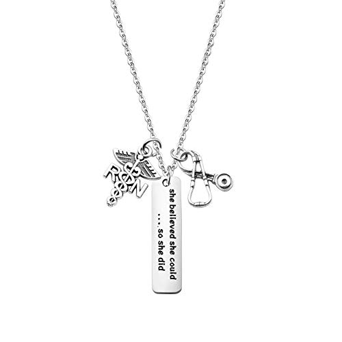 FUTOP RN Gifts Nurse Graduation Gift She Believed She Could So She Did Keychain Medical Student Gift for Nurse (RN Necklace) (Best Stethoscope For Medical Students 2019)