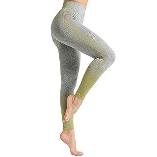 Dressystar High Waist Seamless Leggings for Women Workout Running Yoga Pants Tummy Control Green M
